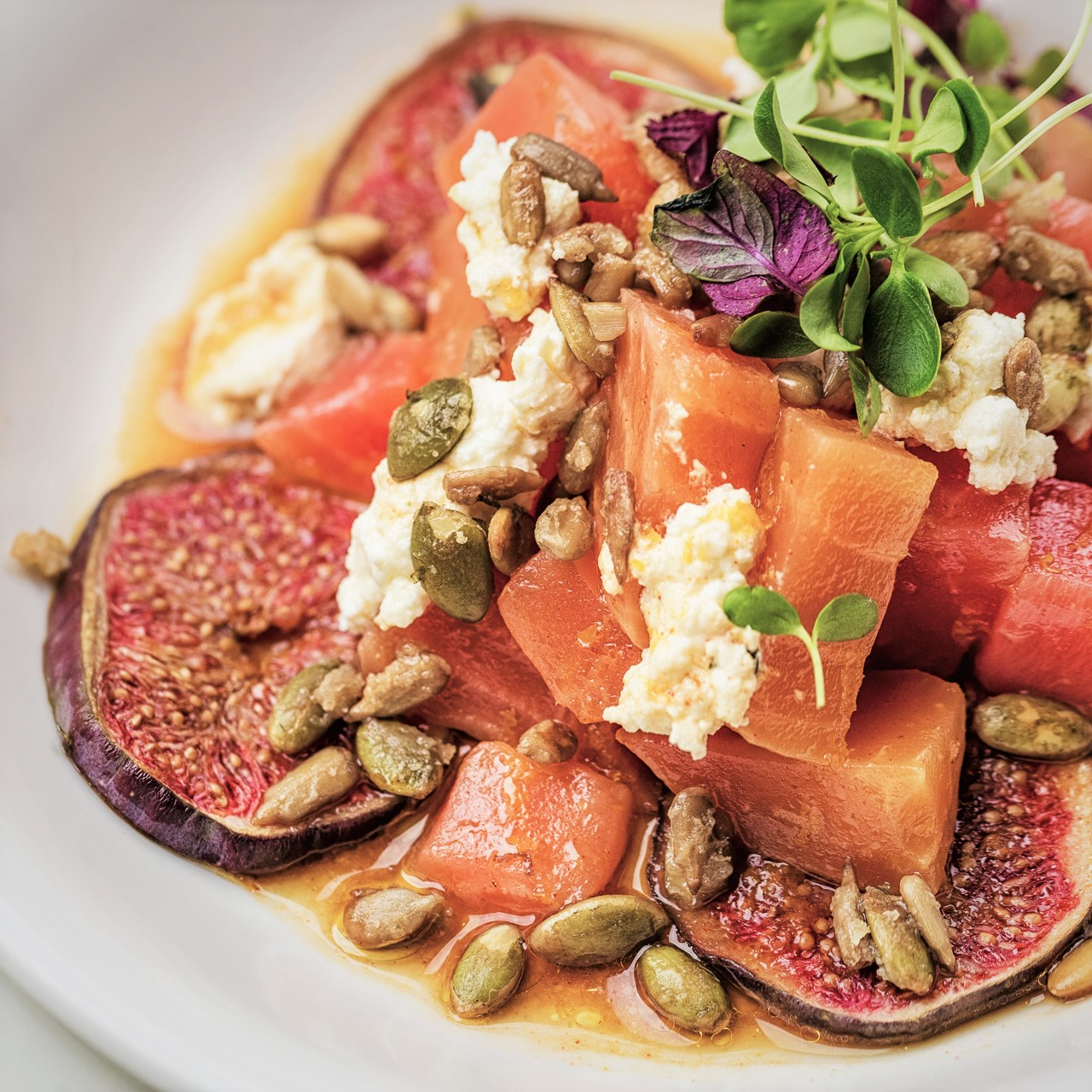 Heritage Beetroot, Persian Feta, Figs & Candied Seeds Bistrot Bagatelle Dubai - Eating the Rainbow