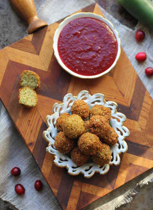 Stuffing Poppers with Cranberry Jalapeño Dipping Sauce - Image & Recipe: Beard and Bonnet