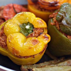 Vegetarian Stuffed Peppers & Tomatoes